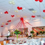 Red and White Ceiling Decorations