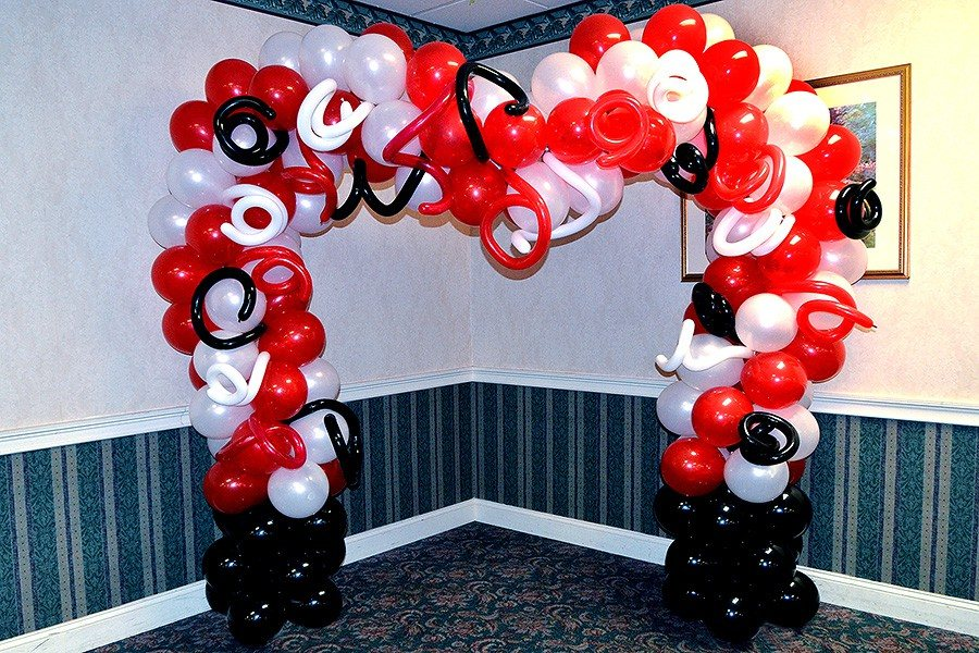 Silver / Wedding Decorations / Red White and Black Wedding Arch