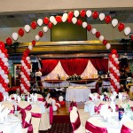 Red and White Dance Floor Decor