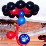 Ceiling Balloon Decorations for IBM party